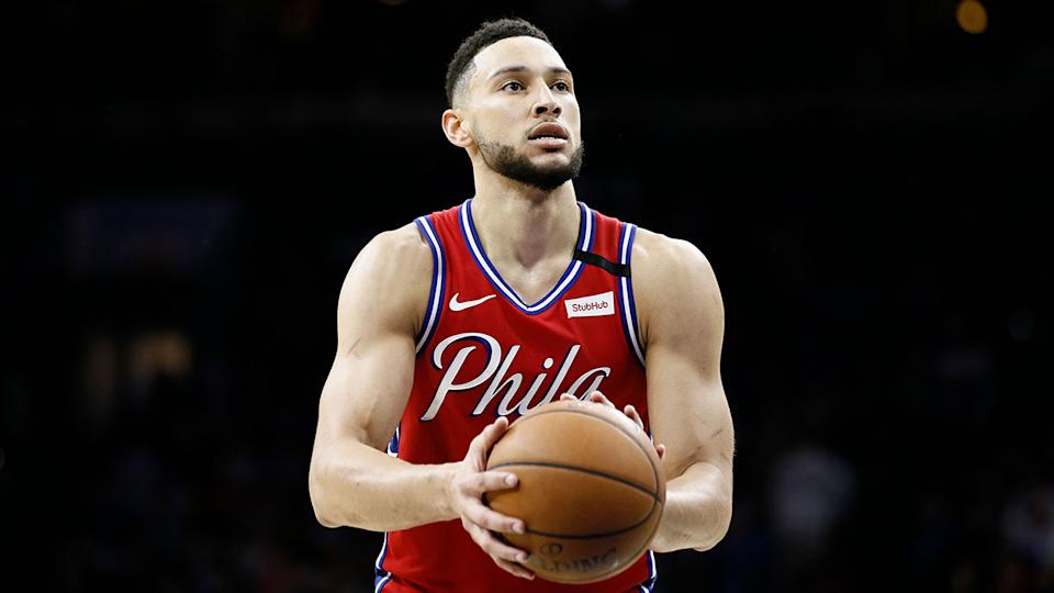 Ben Simmons is pictured here about to take a free throw for Philadelphia.