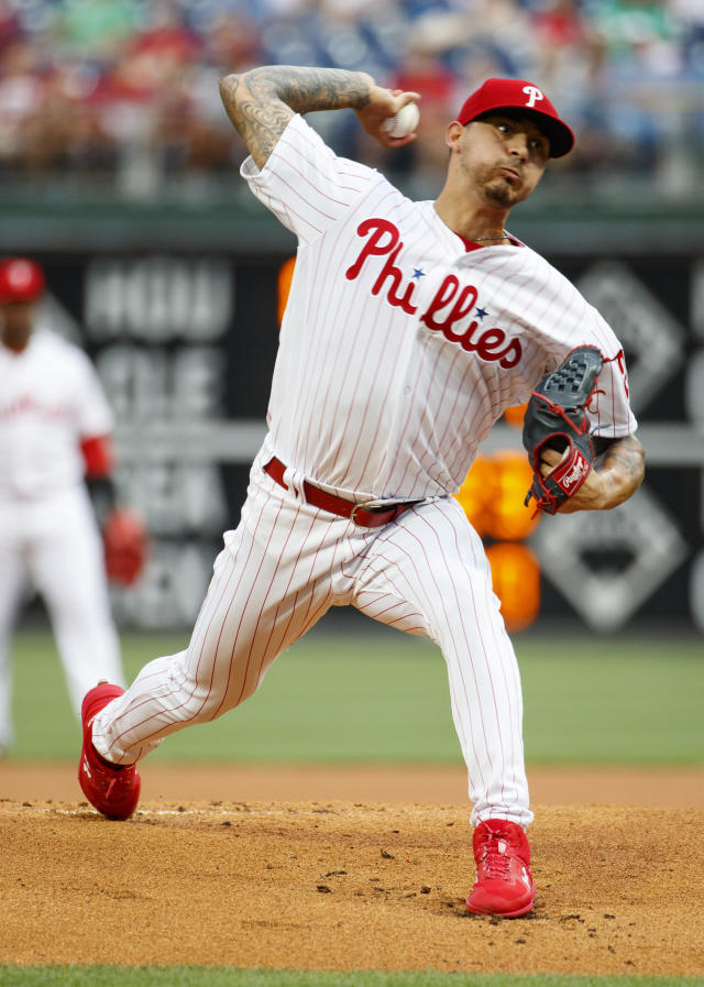Philadelphia Phillies starting pitcher Vince Velasquez throws a pitch during the first inning of a baseball game against the San Francisco Giants, Wednesday, July 31, 2019, in Philadelphia. (AP Photo/Chris Szagola)
