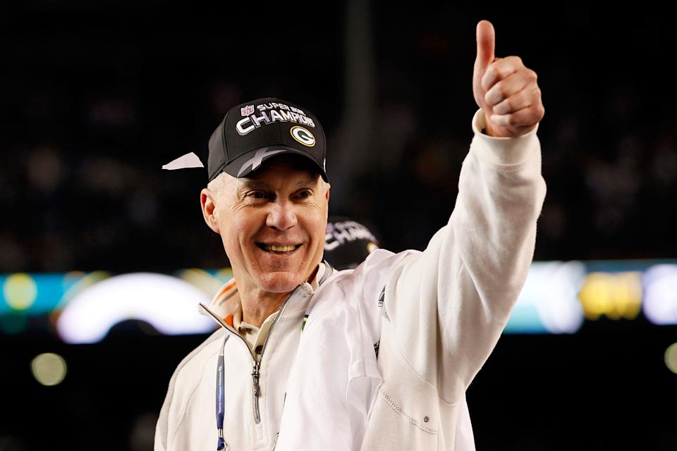 ARLINGTON, TX - FEBRUARY 06:  General Manager Ted Thompson of the Green Bay Packers celebrates after the Packers won 31-25 against the Pittsburgh Steelers during Super Bowl XLV at Cowboys Stadium on February 6, 2011 in Arlington, Texas.  (Photo by Kevin C. Cox/Getty Images)