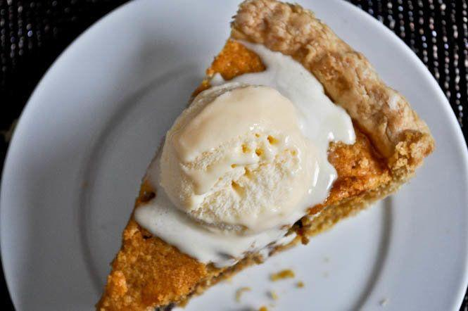 """<strong>Get the <a href=""""http://www.howsweeteats.com/2011/10/pumpkin-chocolate-chip-cookie-pie/"""" rel=""""nofollow noopener"""" target=""""_blank"""" data-ylk=""""slk:Pumpkin Chocolate Chip Cookie Pie recipe"""" class=""""link rapid-noclick-resp"""">Pumpkin Chocolate Chip Cookie Pie recipe</a> from How Sweet It Is</strong>"""