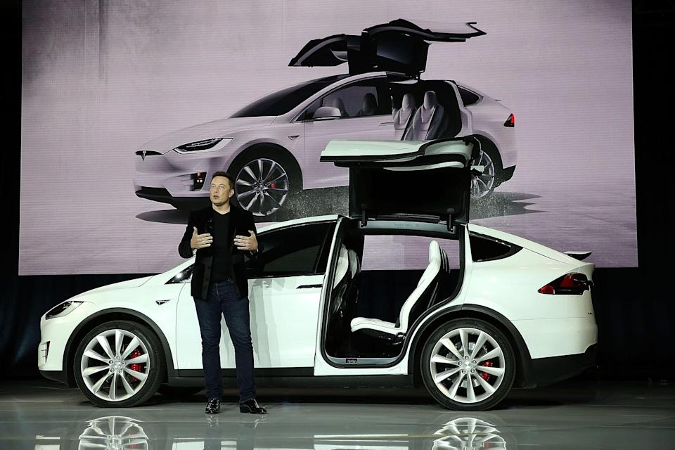 Tesla CEO Elon Musk speaks during an event to launch the new Tesla Model X Crossover SUV  (Getty Images)