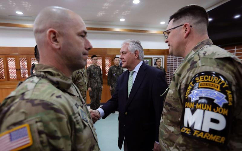 US Secretary of State Rex Tillerson (C) meets with US and South Korea soldiers before the lunch meeting at the Camp Bonifas near the border village of Panmunjom, which has separated the two Koreas since the Korean War, in Paju, on March 17, 2017: LEE JIN-MAN/AFP/Getty Images