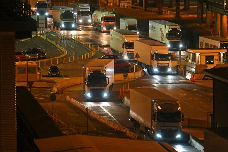 Many European truckers left Britain after Brexit, and during the pandemic, leaving thousands of vacancies (AFP/JUSTIN TALLIS)