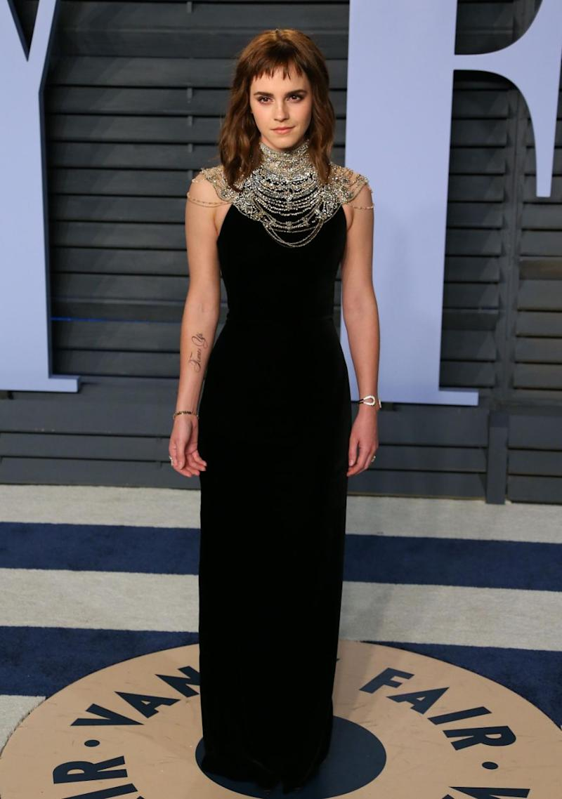 Emma Watson debuted her new tattoo at the Oscars. Photo: Getty Images