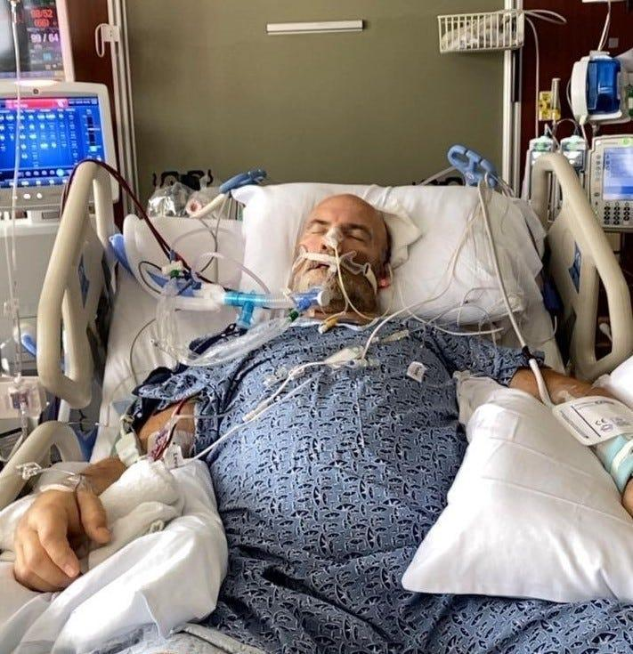 Former nursing home administrator Rick Lucas in an ICU bed battling COVID-19 on Aug. 10, the day a helicopter flew him from a Hendersonville hospital to TriStar Centennial in Nashville