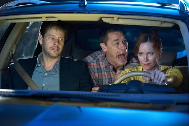 Ike Barinholtz, John Cena, and Leslie Mann in <em>Blockers.</em> (Photo: Quantrell D. Colbert/Universal Studios)