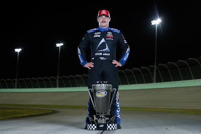 "<a class=""link rapid-noclick-resp"" href=""/nascar/sprint/drivers/3172/"" data-ylk=""slk:Brett Moffitt"">Brett Moffitt</a>, who won six races in 2018, is being replaced by a driver who is bringing sponsorship to the team. (Getty Images)"