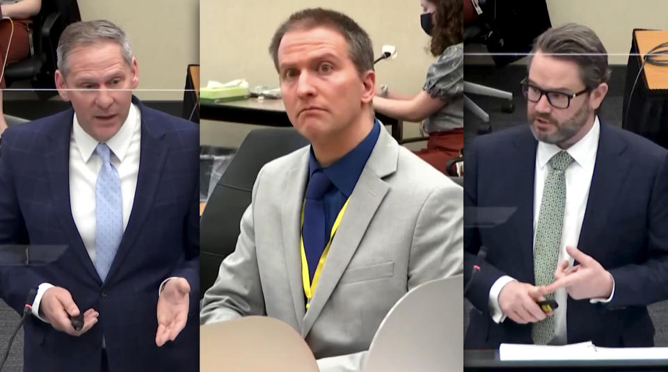 Prosecution attorney Steve Schleicher, Derek Chauvin and defense attorney Eric Nelson during the Derek Chauvin trial in Minneapolis, MN on April 19, 2021. (Photo illustration: Yahoo News; photos: Court TV via Reuters Video)