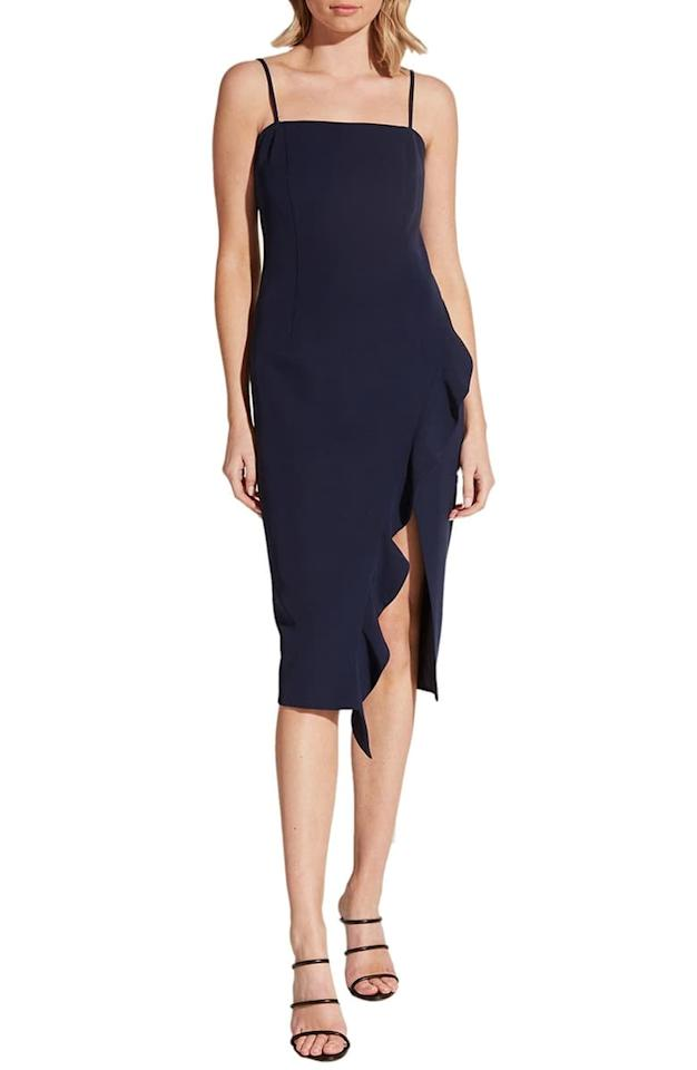 """<p>Not in the mood for sequins? Go with this classic <a href=""""https://www.popsugar.com/buy/Bardot-Carmelle-Cocktail-Dress-533447?p_name=Bardot%20Carmelle%20Cocktail%20Dress&retailer=shop.nordstrom.com&pid=533447&price=119&evar1=fab%3Aus&evar9=47030897&evar98=https%3A%2F%2Fwww.popsugar.com%2Fphoto-gallery%2F47030897%2Fimage%2F47030984%2FBardot-Carmelle-Cocktail-Dress&list1=shopping%2Cdresses%2Choliday%2Csequins%2Cnew%20years%20eve%2Cnew%20year%2Cwinter%20fashion%2Choliday%20fashion&prop13=api&pdata=1"""" rel=""""nofollow"""" data-shoppable-link=""""1"""" target=""""_blank"""" class=""""ga-track"""" data-ga-category=""""Related"""" data-ga-label=""""https://shop.nordstrom.com/s/bardot-carmelle-cocktail-dress/5209927/full?origin=category-personalizedsort&amp;breadcrumb=Home%2FWomen%2FClothing%2FDresses%2FCocktail%20%26%20Party&amp;color=navy"""" data-ga-action=""""In-Line Links"""">Bardot Carmelle Cocktail Dress</a> ($119).</p>"""