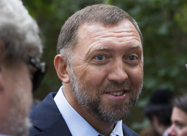 FILE - In this July 2, 2015, file photo, Russian metals magnate Oleg Deripaska attends Independence Day celebrations at Spaso House, the residence of the American Ambassador, in Moscow, Russia. (AP Photo/Alexander Zemlianichenko, File)