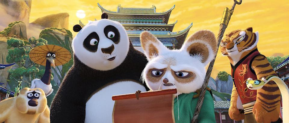 The animals of Kung Fu Panda studying a scroll