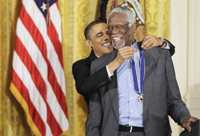 Bill Russell receives the President Medal of Freedom from Barack Obama in 2010. (AP)