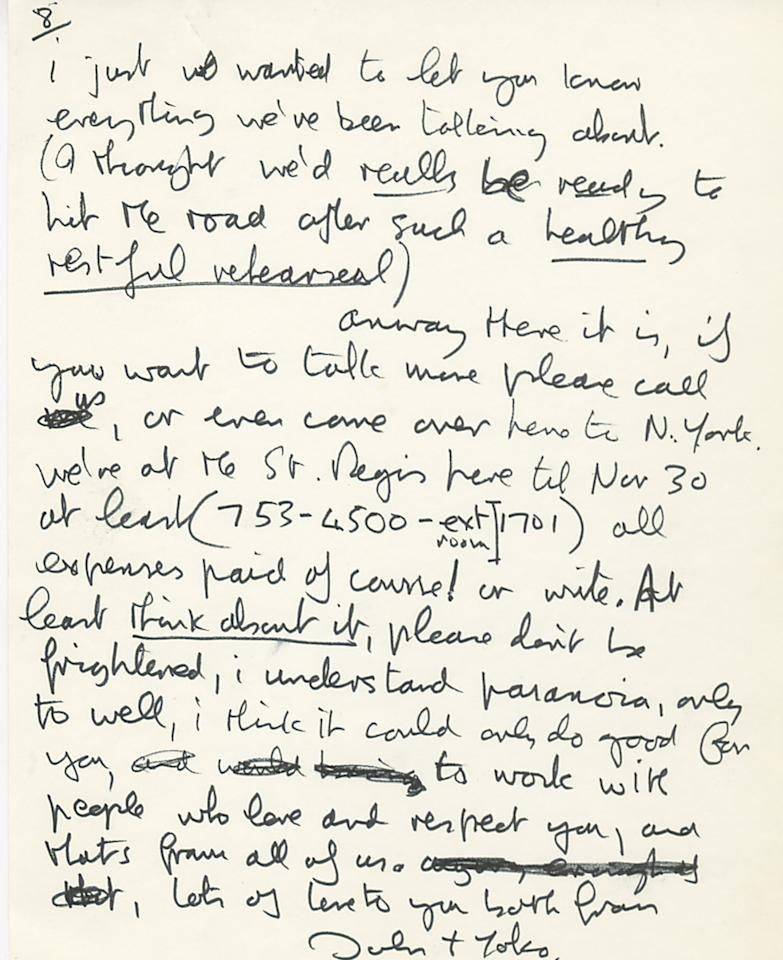 This undated photo provided by Profiles in History shows the second page of a handwritten letter from John Lennon to Eric Clapton. The two-page letter is expected to draw $20,000 to $30,000 during an online and phone auction by Profiles in History on Dec. 18, 2012. (AP Photo/Profiles in History)