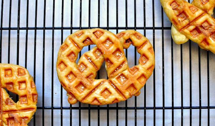 """<p>Enjoy the ballpark favorite at home.</p><p>Get the recipe from <a rel=""""nofollow noopener"""" href=""""http://www.willitwaffle.com/blog/2010/03/15/recipe-waffled-soft-pretzels"""" target=""""_blank"""" data-ylk=""""slk:Will it Waffle"""" class=""""link rapid-noclick-resp"""">Will it Waffle</a>.</p>"""