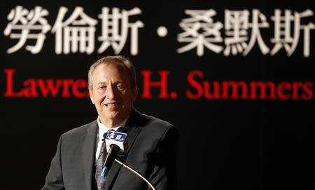 """Lawrence H. Summers, ex-Director of the White House's National Economic Council, gives a speech during a business forum """"The United States, China, and Taiwan: Roles and Responsibility in a Global Economy"""" in Taipei in this May 30, 2012, file photo. REUTERS/Pichi Chuang/Files"""