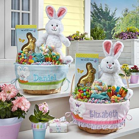 """<p><strong>Personal Creations</strong></p><p>personalcreations.com</p><p><strong>$16.99</strong></p><p><a href=""""https://www.personalcreations.com/product/fully-filled-applique-basket-30192657"""" target=""""_blank"""">Shop Now</a></p><p>While the sweet treats rucked inside won't last long, this customized Easter basket, available in pink or blue designs, can be used — and filled with goodies — year after year.</p>"""