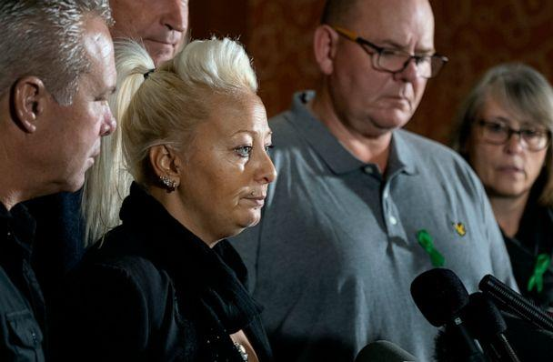 PHOTO: Charlotte Charles, mother of Harry Dunn, who died after his motorbike was involved in an August 2019 accident in Britain with Anne Sacoolas, wife of an American diplomat, speaks at a news conference Monday, Oct. 14, 2019, in New York. (AP)