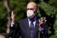 Larry Kudlow speaks after U.S. President Trump announced he tested positive for the coronavirus disease (COVID-19) in Washington