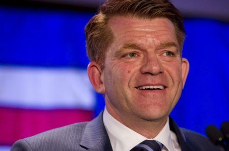Wildrose party leader Brian Jean speaks to supporters after being declared leader of the opposition in the Alberta election in Fort McMurray, Alberta May 5, 2015.    REUTERS/Ben Nelms