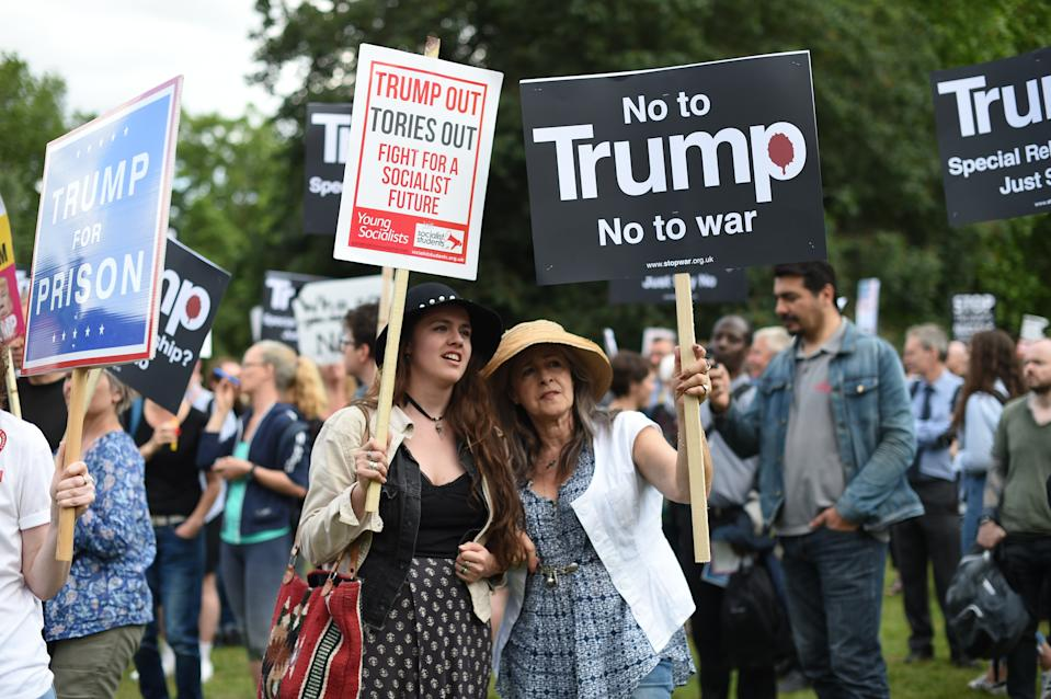 Protestors outside Buckingham Palace, London, during the first day of a state visit to the UK by US President Donald Trump.