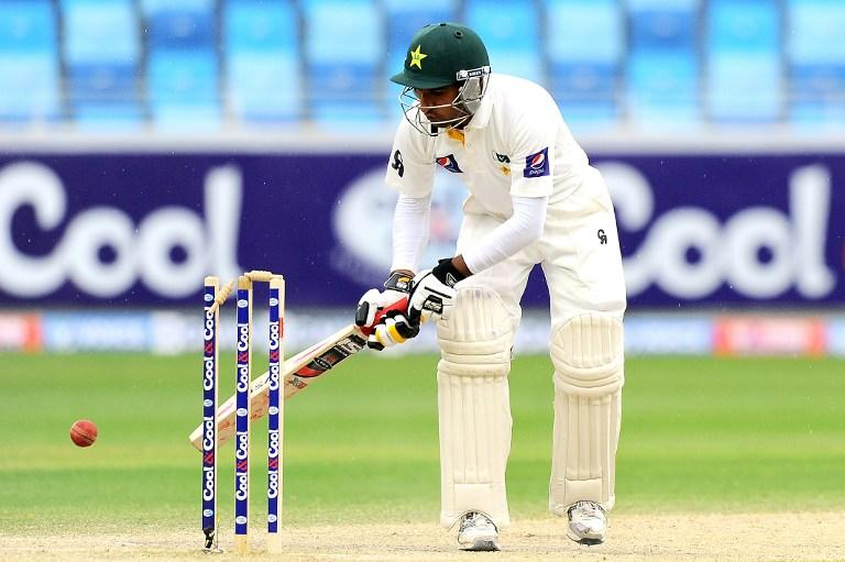Pakistan batsman Bilawal Bhatti is bowled out during the second cricket Test match between Pakistan and Sri Lanka at the Dubai International Cricket Stadium in Dubai on January 11, 2014.  AFP PHOTO/Ishara S. KODIKARA