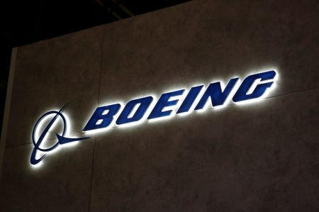 FILE PHOTO:    A Boeing logo is pictured during the European Business Aviation Convention & Exhibition (EBACE) at Geneva Airport, Switzerland May 28, 2018. REUTERS/Denis Balibouse/File Photo