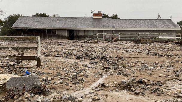 PHOTO: Dangerous mudslides trapped residents and damaged homes in Monterey County, Calif., Jan. 27, 2021. (ABC News)