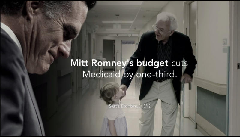 "This image provided by the Obama For America campaign shows a still frame made from a video ad entitled ""Only Choice."" One analysis estimates the campaigns and independent groups will have spent about $1.1 billion on television advertising this year, with $750 million already allocated in states likely to determine the outcome of the presidential contest. Obama's team is running an ad warning that Romney would cut Medicaid money for nursing home care. (AP Photo/Obama for America)"