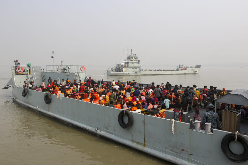 Rohingya refugees headed to the Bhasan Char island leave on navy vessels from the south eastern port city of Chattogram, Bangladesh, Monday, Feb.15,2021. Authorities sent a fourth group of Rohingya refugees to the newly developed island in the Bay of Bengal on Monday amid calls by human rights groups for a halt to the process. (AP Photo)
