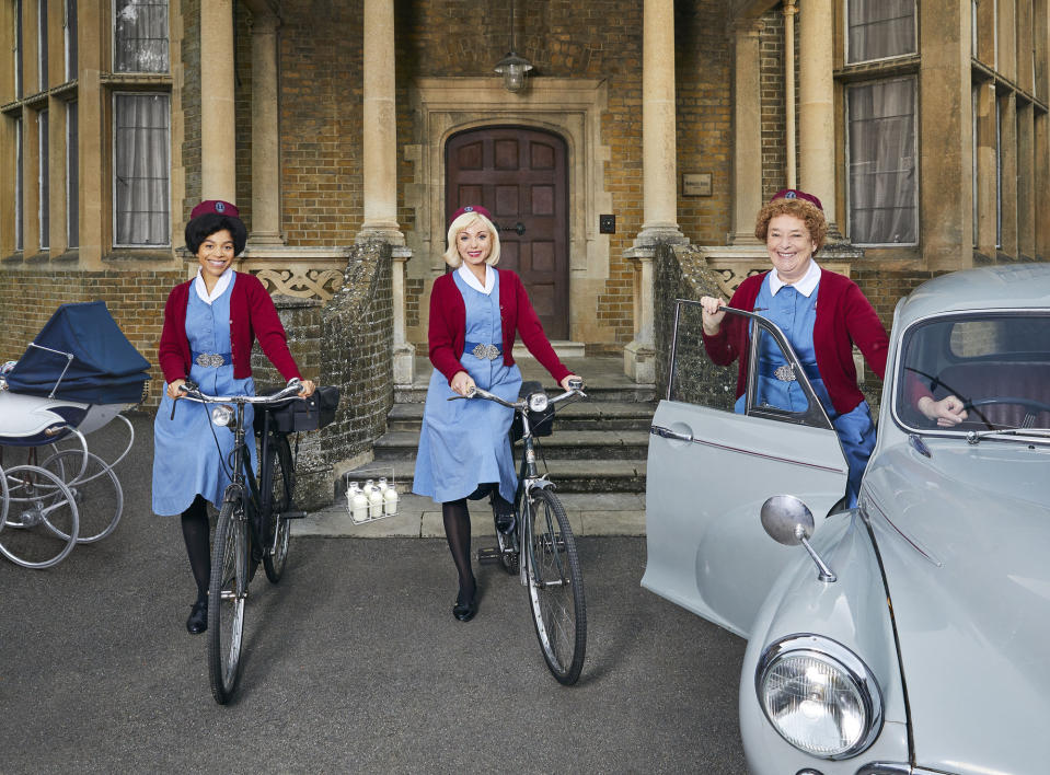 Call The Midwife - S10:  Nurse Phyllis Crane (LINDA BASSETT), Nurse Trixie (HELEN GEORGE), Nurse Lucille Anderson  (LEONIE ELLIOTT) (Neal Street Productions/Nicky Johnston/Sophie Mutevelian)