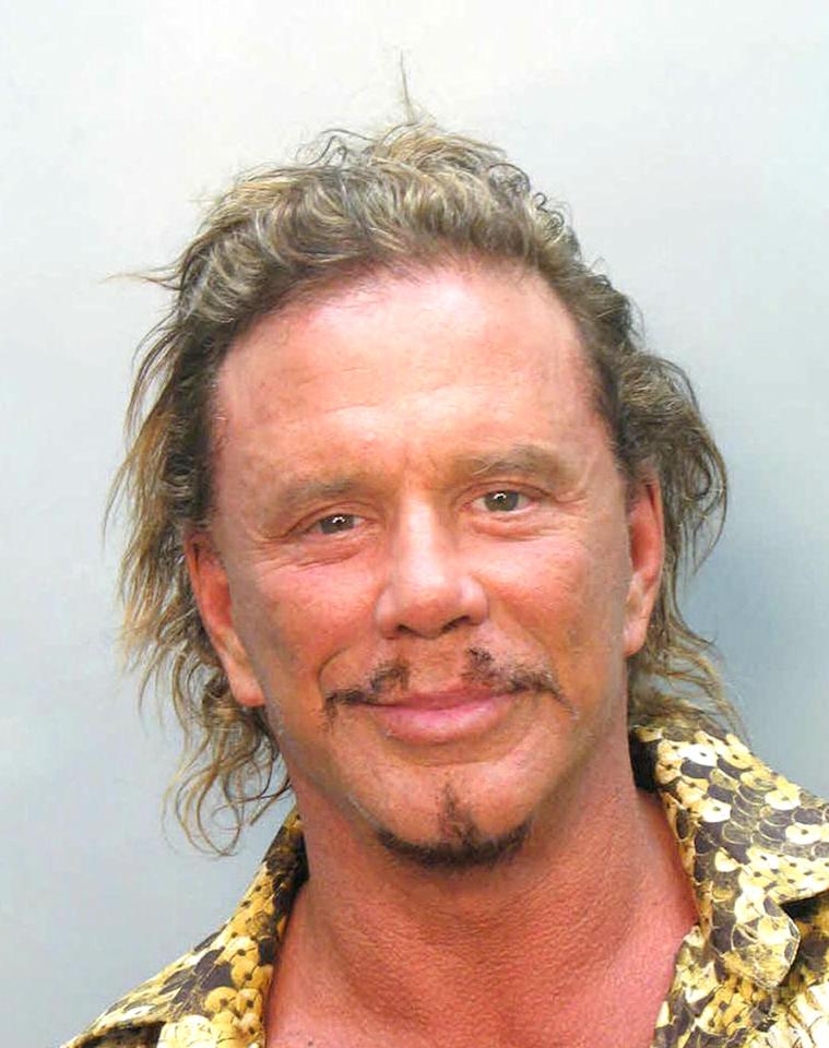 """Actor Mickey Rourke was arrested on November 8, 2007 for driving under the influence and making an illegal U-turn on a Vespa. <a href=""""http://www.splashnewsonline.com"""" target=""""new"""">Splash News</a> - November 8, 2007"""