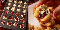 """<p>This holiday appetizer will get demolished in seconds.</p><p><strong>Get the recipe at <a href=""""https://www.delish.com/cooking/recipe-ideas/recipes/a56610/cranberry-brie-bites-recipe/"""" rel=""""nofollow noopener"""" target=""""_blank"""" data-ylk=""""slk:Delish"""" class=""""link rapid-noclick-resp"""">Delish</a>. </strong></p>"""