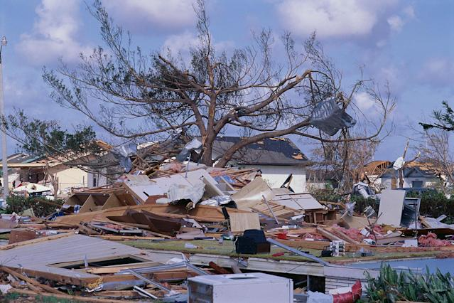 <p>Houses were reduced to rubble from Hurricane Andrew. (Steve Starr/CORBIS/Corbis via Getty Images) </p>