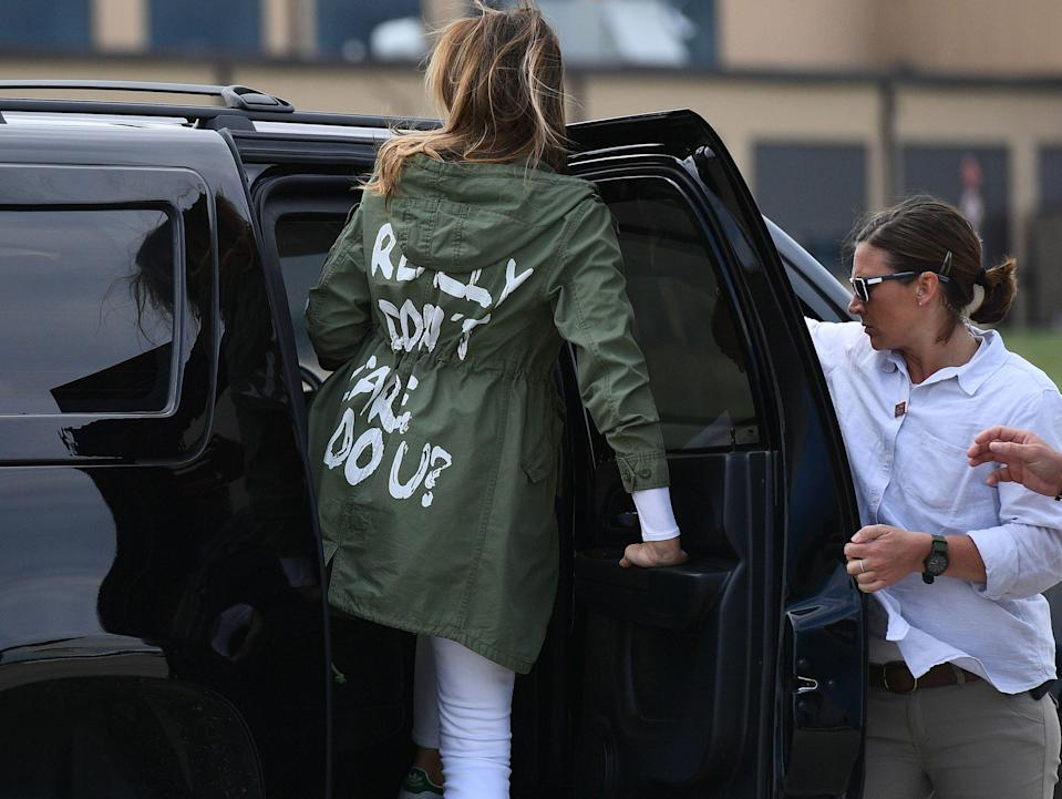 Melania Trump has been accused of sending a negative message with her jacket. (Photo: Mandel Ngan/AFP/Getty Images)