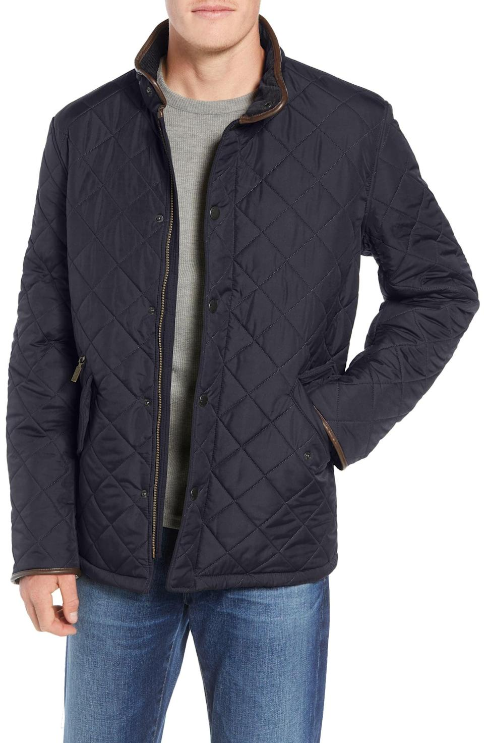 <p>The <span>Barbour Powell Quilted Jacket</span> ($300) is light enough to wear when it's not super cold out, meaning he can throw it on any month of the year.</p>