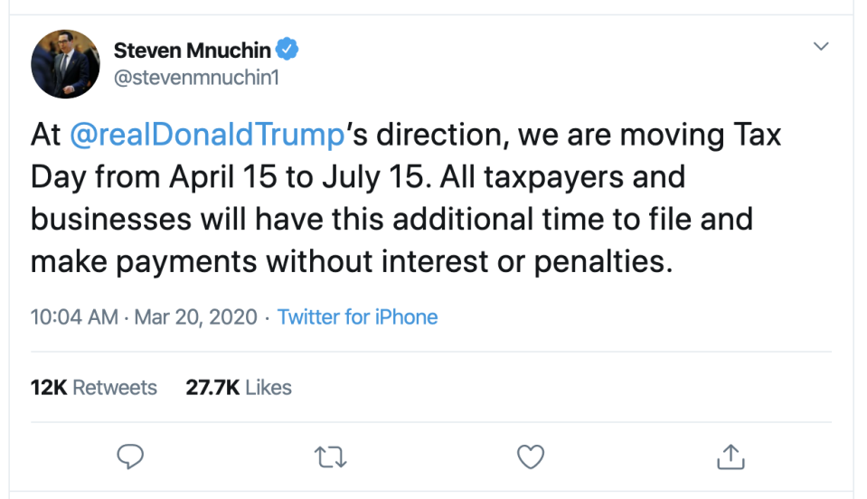 Treasury Secretary Steven Mnuchin on Friday said via tweet that the tax deadline for federal returns is extended until July 15, 2020.