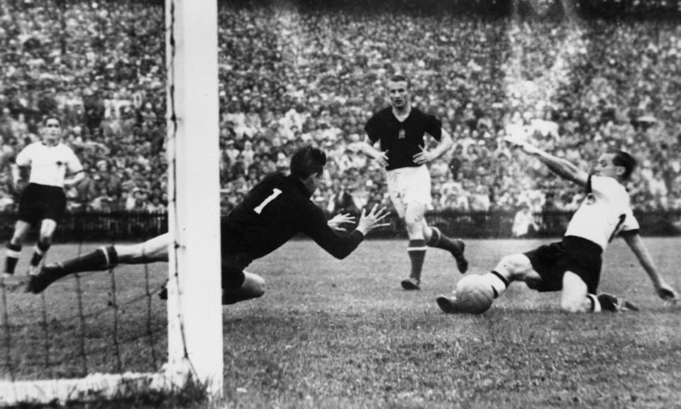 Hungary concede a goal against West Germany during their defeat in the 1954 World Cup final in Bern, Switzerland.