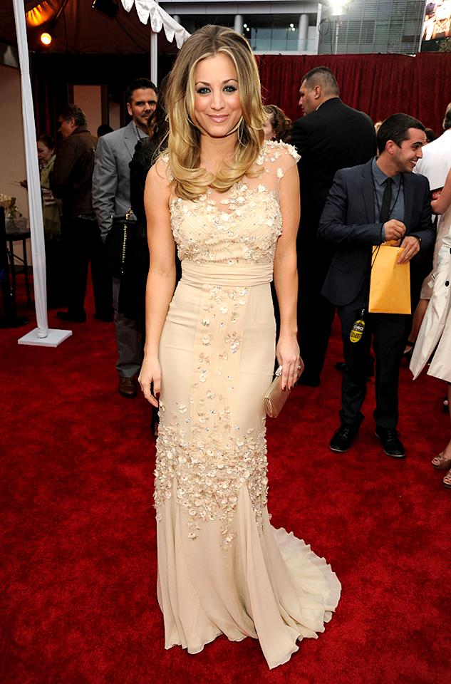 """The Big Bang Theory's"" Kaley Cuoco donned a gauzy gown with floral appliques to host the show. (01/11/2012)"