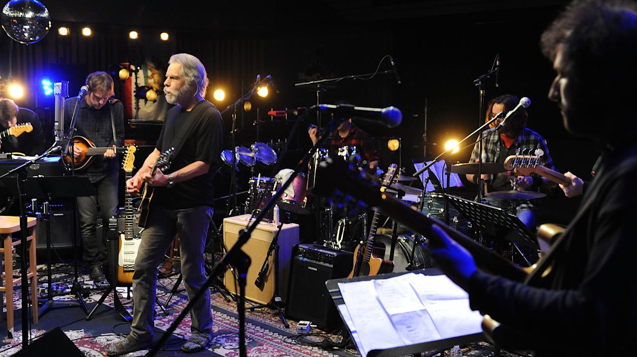 """Aaron Dessner, Conrad Doucette, Bob Weir, Bryan Devendorf and Josh Kaufman perform during the Yahoo! Music Presents """"The Bridge Session"""" sponsored by Headcount at TRI Studios on March 24, 2012 in San Rafael, California."""