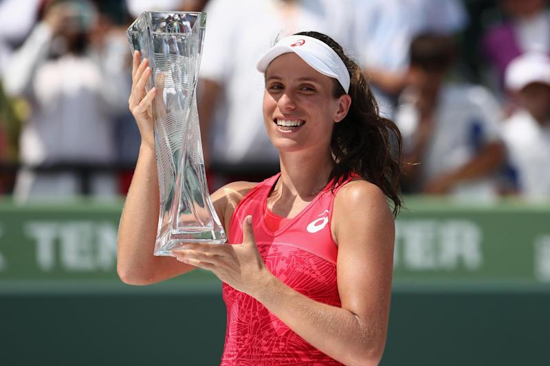 Konta celebrates her Miami Open title: Getty Images