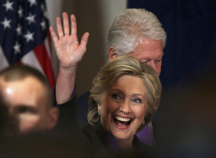 <p>Democratic presidential candidate Hillary Clinton, with her husband, former U.S. President Bill Clinton, (rear) arrive for her concession speech to President-elect Donald Trump in New York, U.S., November 9, 2016. (REUTERS/Carlos Barria( </p>