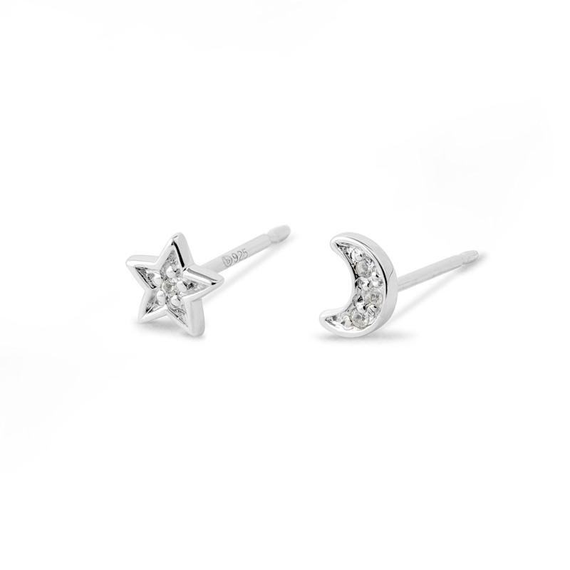 Lune & Etoile Sterling Silver and White Topaz Earrings. Image via Boma.