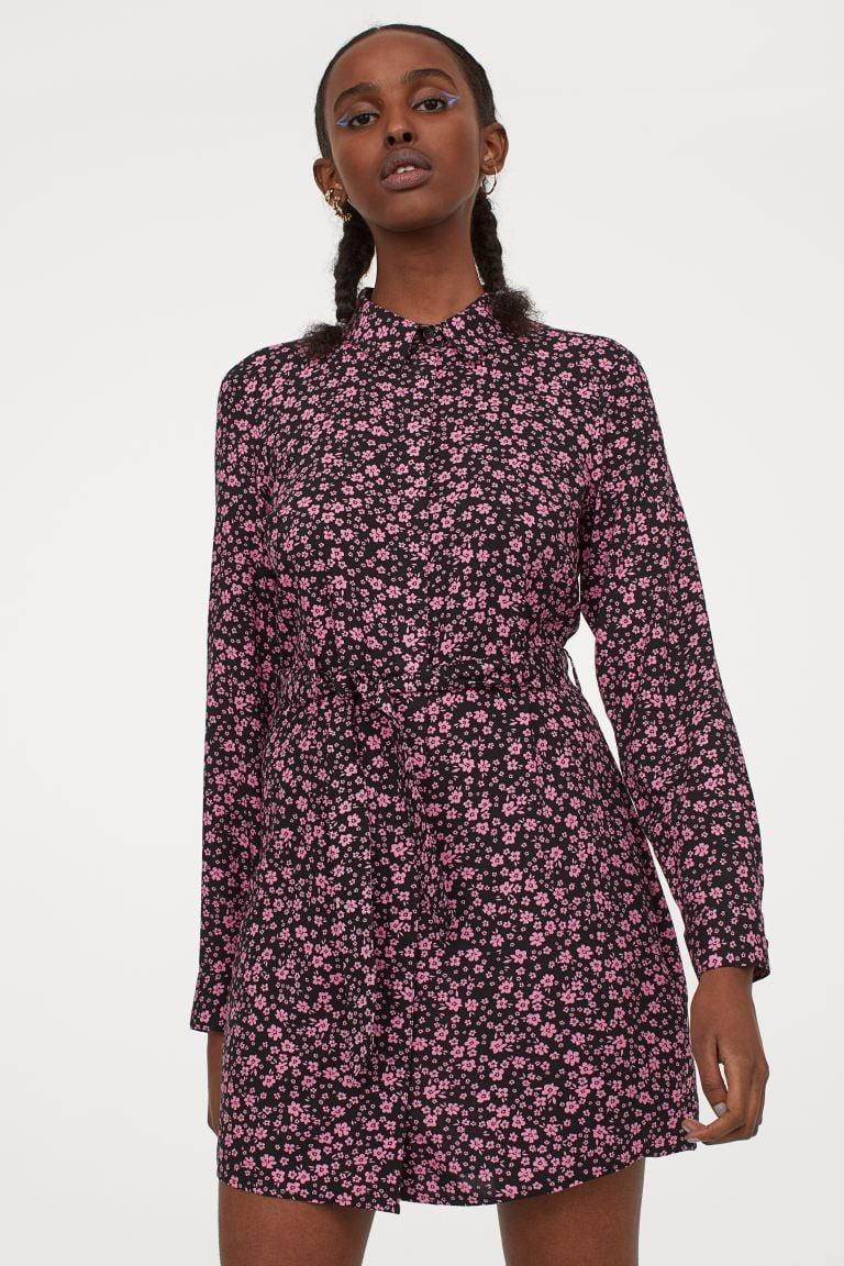 <p>This <span>Shirt Dress with Tie Belt</span> ($25) will look great with mules or combat boots and a leather jacket.</p>