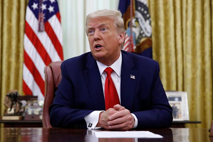 President Donald Trump speaks during a law enforcement briefing on the MS-13 gang in the Oval Office of the White House, Wednesday, July 15, 2020, in Washington. (AP Photo/Patrick Semansky) ORG XMIT: DCPS119