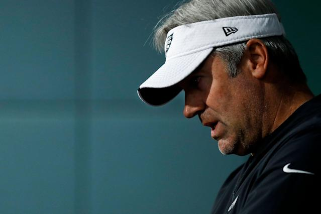 Philadelphia Eagles fans came to the defense of head coach Doud Pederson on Twitter. (AP)
