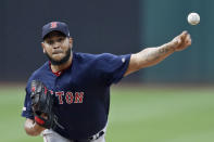 Boston Red Sox starting pitcher Eduardo Rodriguez delivers in the first inning of a baseball game against the Cleveland Indians, Monday, Aug. 12, 2019, in Cleveland. (AP Photo/Tony Dejak)