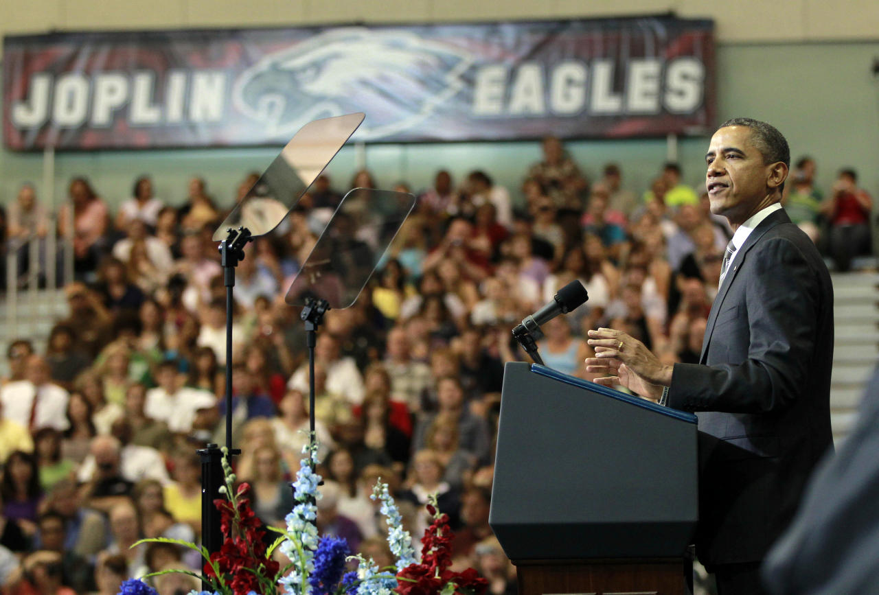 President Barack Obama speaks at the Joplin High School commencement ceremony, Monday, May 21, 2012, at Missouri Southern State University in Joplin, Mo. (AP Photo/Pablo Martinez Monsivais)