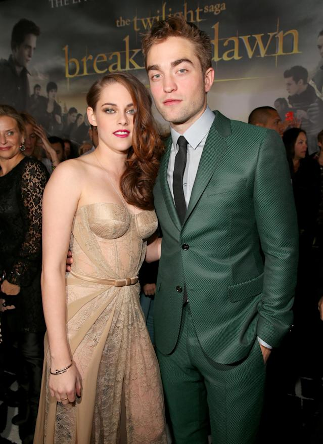 Stewart and Pattinson in 2012 at the premiere of <i>The Twilight Saga: Breaking Dawn – Part 2</i> in L.A. (Photo: Christopher Polk/Getty Images)