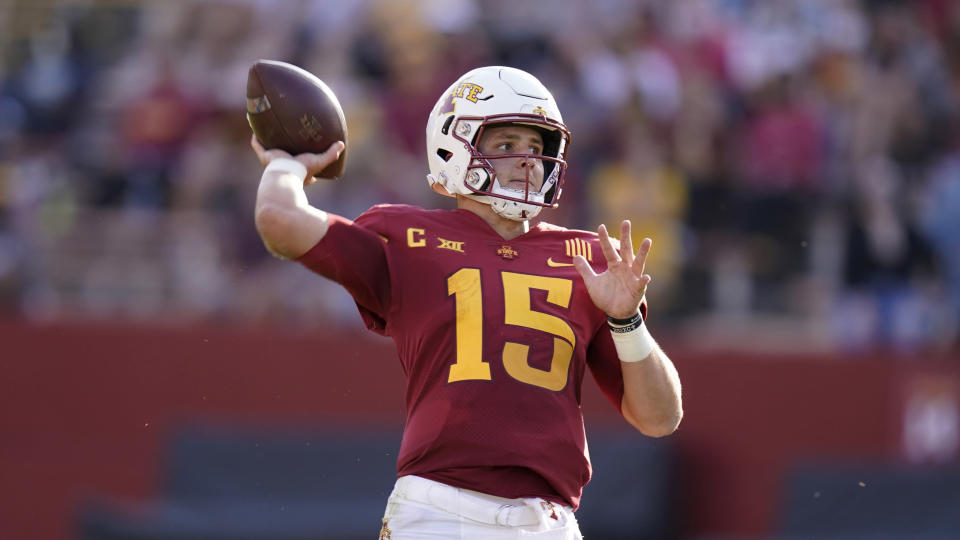 Iowa State QB Brock Purdy struggled early but has gotten back on track in recent games. (AP Photo/Charlie Neibergall)