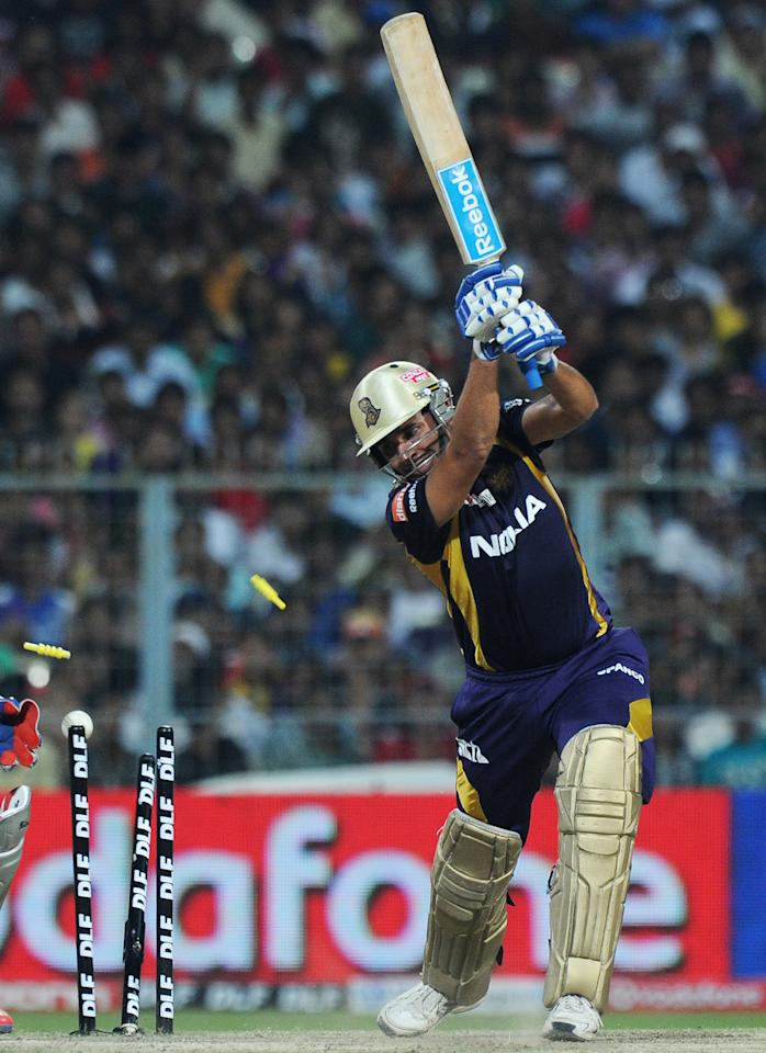 Kolkata Knight Riders batsman Manvinder Bisla is clean bowled during the IPL Twenty20 cricket match between Kolkata Knight Riders and Kings XI Punjab at The Eden Gardens in Kolkata on April 15, 2012. RESTRICTED TO EDITORIAL USE. MOBILE USE WITHIN NEWS PACKAGE. AFP PHOTO/Dibyangshu SARKAR (Photo credit should read DIBYANGSHU SARKAR/AFP/Getty Images)